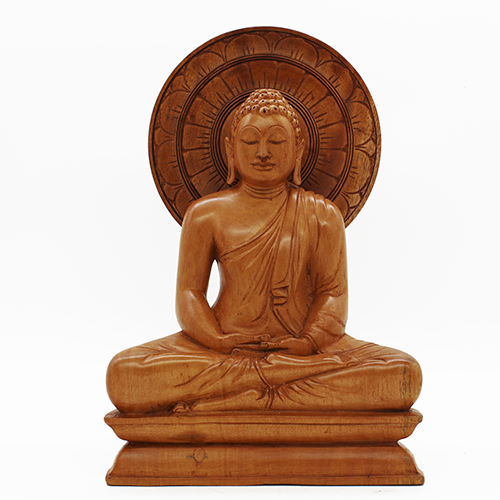 Seated Buddha Statue With Lotus Halo