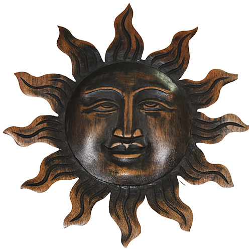 Wooden Rising Sun Face Wall Plaque