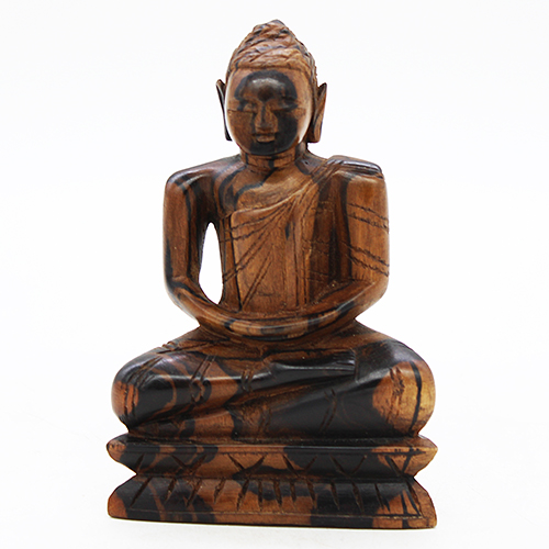 Ebony Buddha in Samadhi pose - Medium