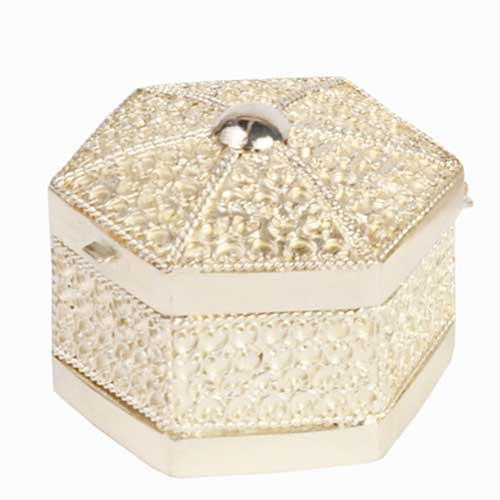 Sterling Silver Jewellery Box - Octagonal Shape