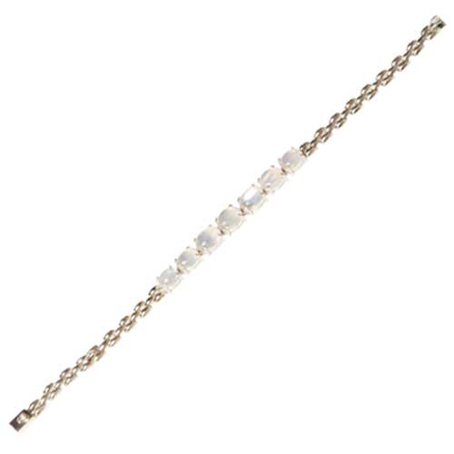 Sterling Silver Bracelet with Moonstones