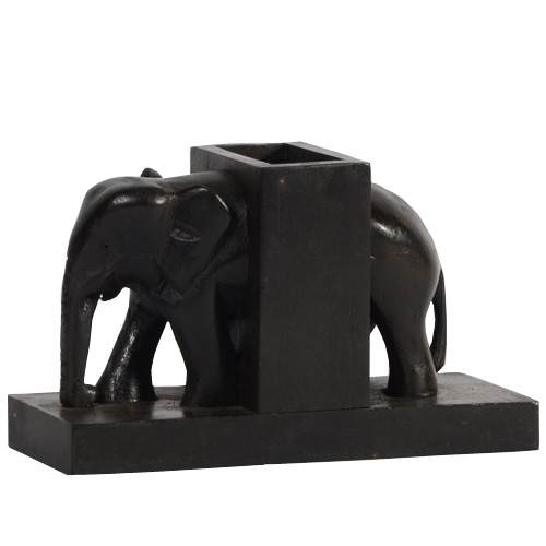 Mahogany Pen Holder - Elephant Shape