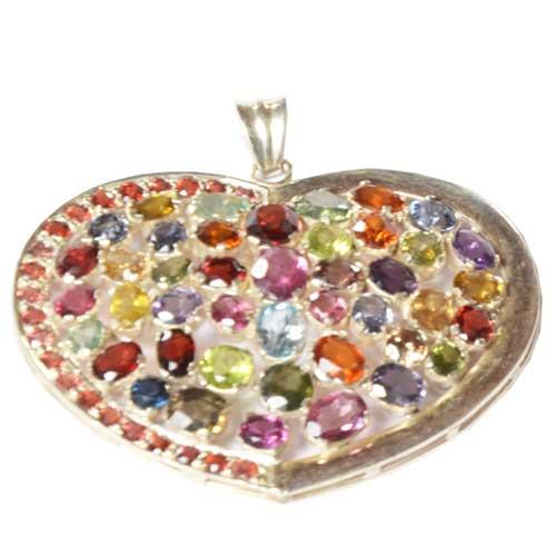 Silver Pendant with Semi Precious Stones