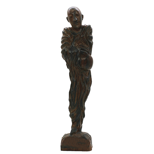 Vintage Tall Monk Wood Carving Abstract Statue - Large