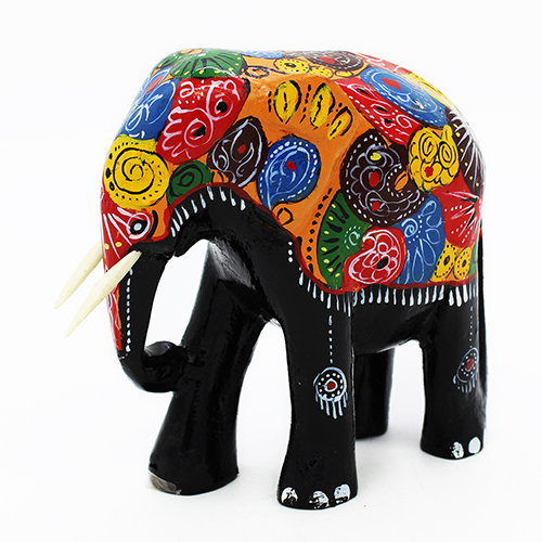 Painted Colorful Elephant - Medium