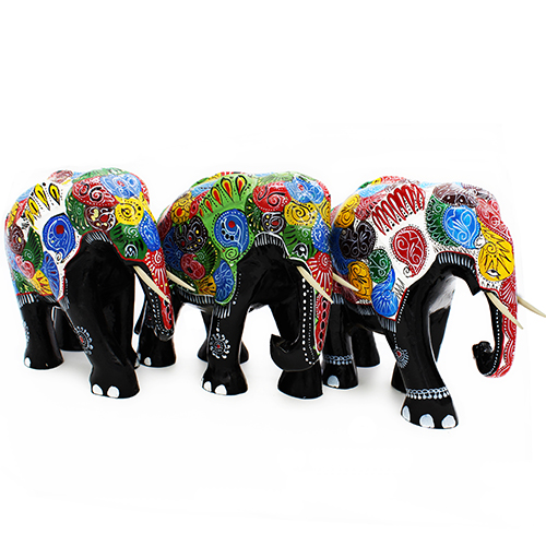 Painted Colorful Elephant - Large