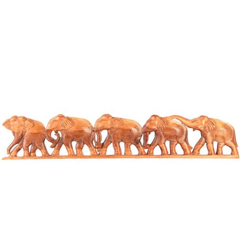 Mahogany Wall Plaque - Elephants