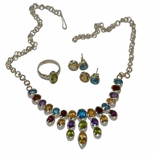 Sterling Silver Jewellery Set with Semi Precious Stones