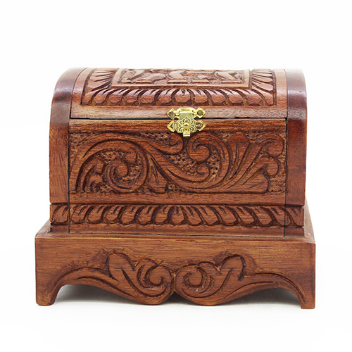 Antique Wooden Jewelry Box - Small