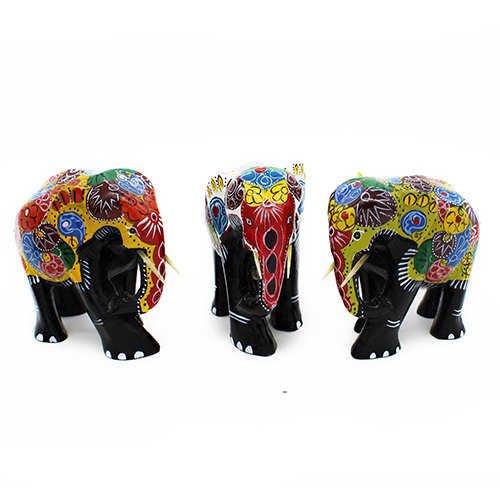 Painted Colorful Elephant - Small