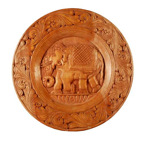 Mahogany Elephant Wall Plaque - L