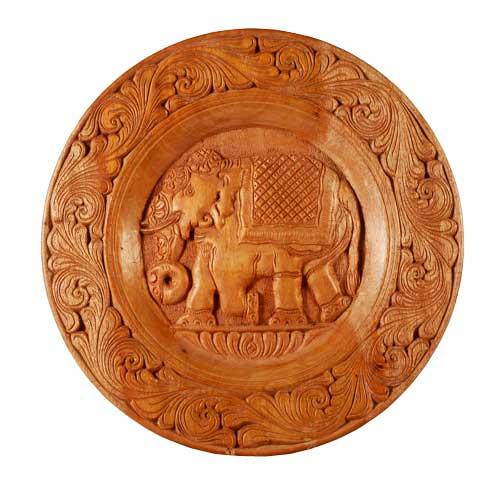 Mahogany Elephant Wall Plaque - L