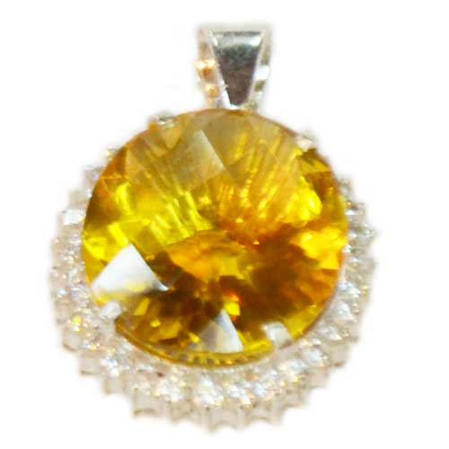 Silver Pendant with Citrine Stones